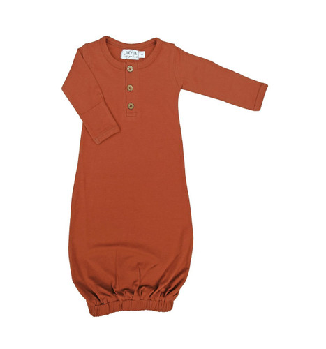 Organic Baby Snuggle Gown, Rust