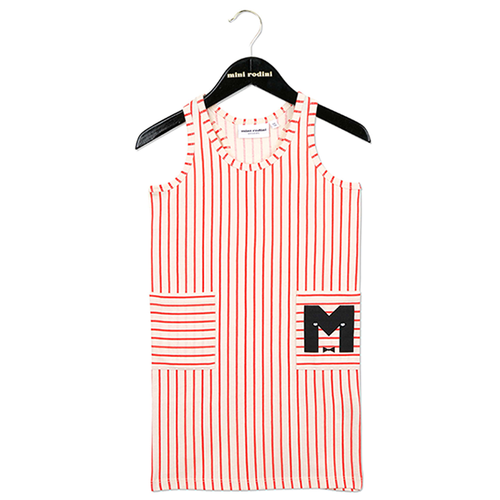 Mini Rodini Tank Dress, Red Stripe