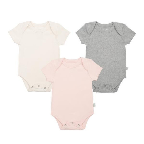 Organic Cotton Short Sleeve 3-Pack Bodysuit, Grey/Ivory/Pink