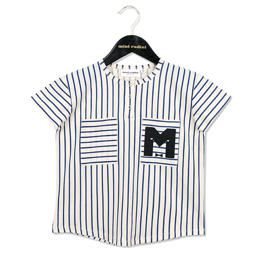 Mini Rodini Stripe Baseball Tee, Blue