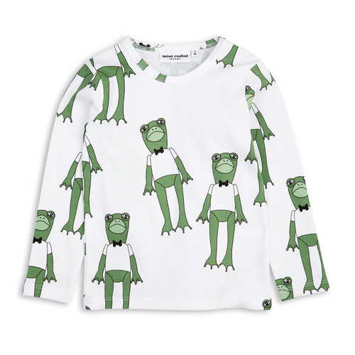Mini Rodini Long Sleeve Frog Tee, Green