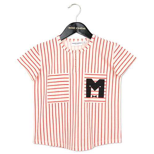Mini Rodini Stripe Baseball Tee, Red