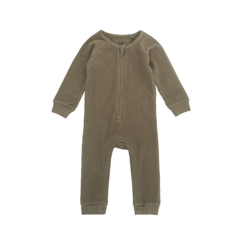 Periwinkle Waffle Grow Suit, Moss