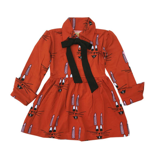 Red Bunny Collared Bow Dress