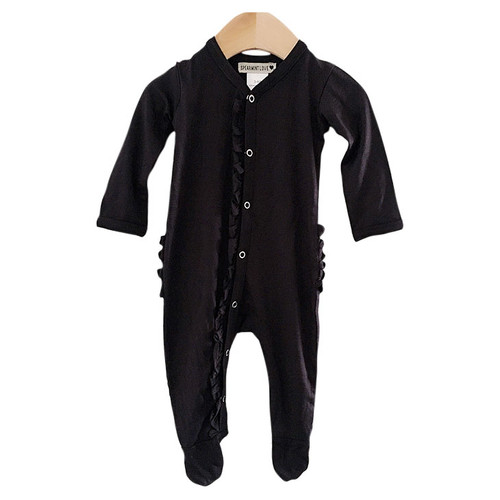 Ruffle Snap Footie, Black