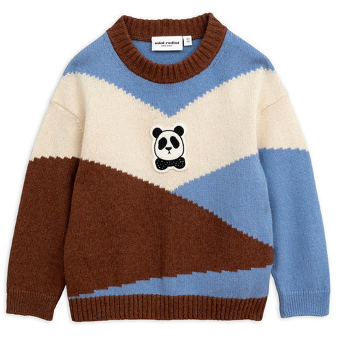 Mini Rodini Panda Knit Wool Pullover, Brown