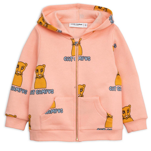 Mini Rodini Cat Campus Zip Hoodie, Pink