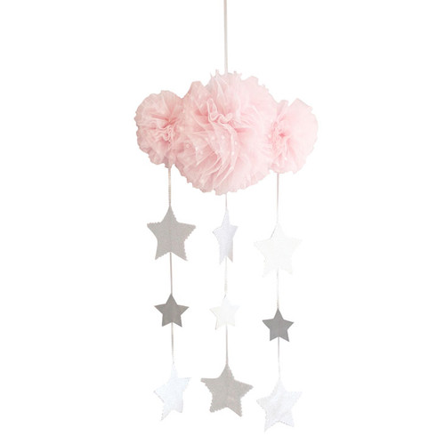 Tulle Cloud Mobile, Pale Pink & Silver