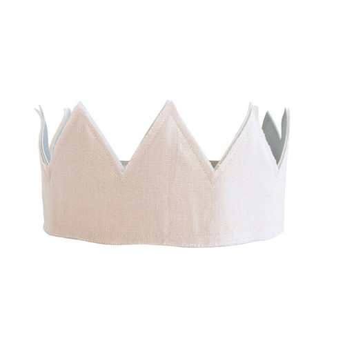 Fabric Crown, Pink Linen & Silver