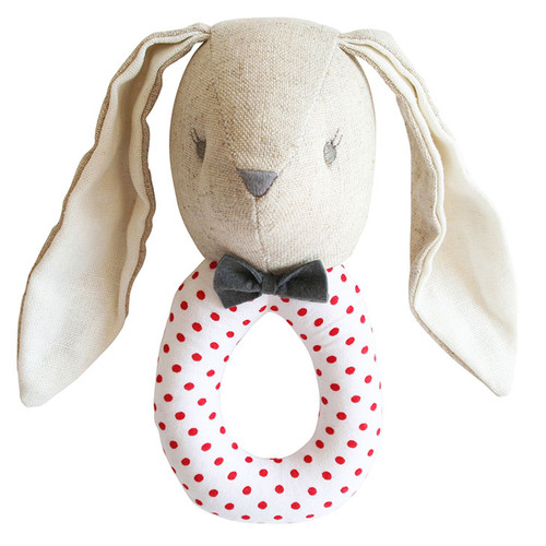 Linen Louie Grab Rattle, Grey Red