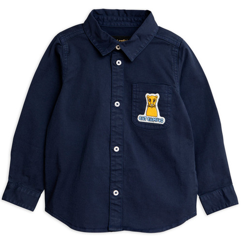 Mini Rodini Campus Cat Woven Shirt, Navy