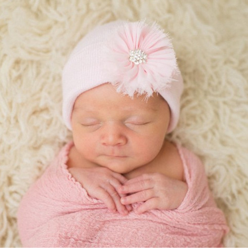 Newborn Hat, Pink Frayed Flower