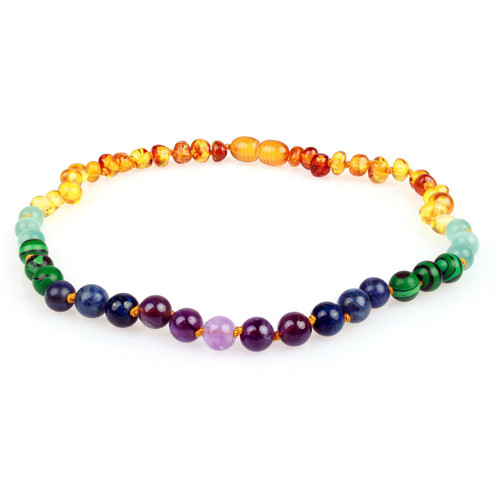 Amber Teething Necklace, Rainbow Baltic Amber