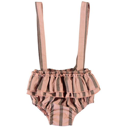 Baby Shorties with Straps, Light Pink Stripes