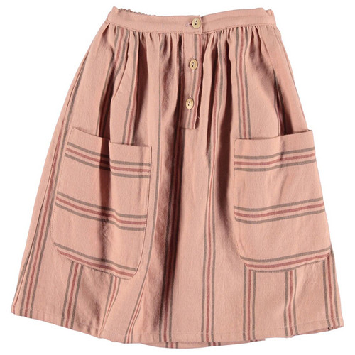 Midi Skirt, Pale Pink with Colored Stripes