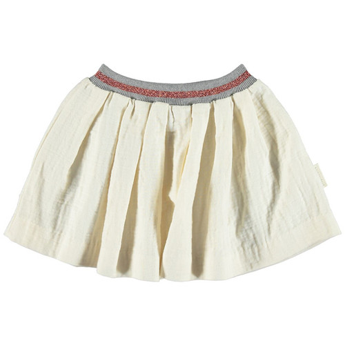 Pleated Skirt, Ecru with Lurex Rib