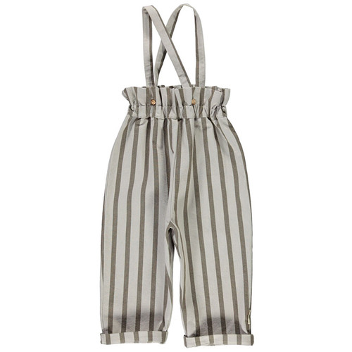 High Waist Trousers with Straps, Grey Stripes