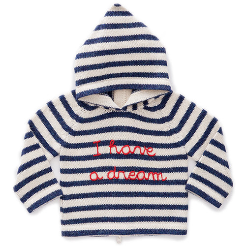 Oeuf Striped Hooded Sweater, White/Indigo Stripes