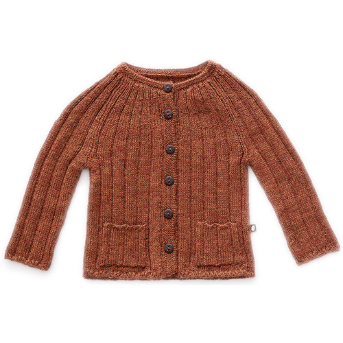Oeuf Ribbed Cardigan, Hazelnut