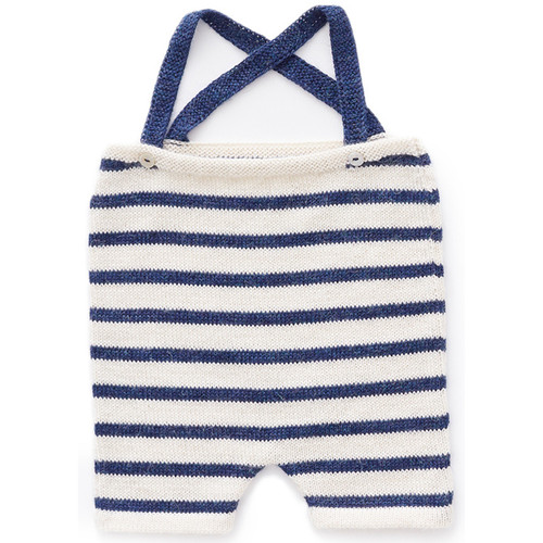 Oeuf Suspender Shorts, White/Indigo Stripes