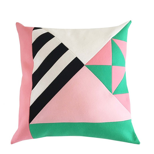 How About Frankie Cushion Cover, Mint Green/Pink