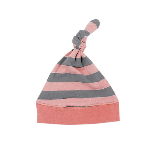 Organic Knotted Cap, Coral/Light Gray Stripe