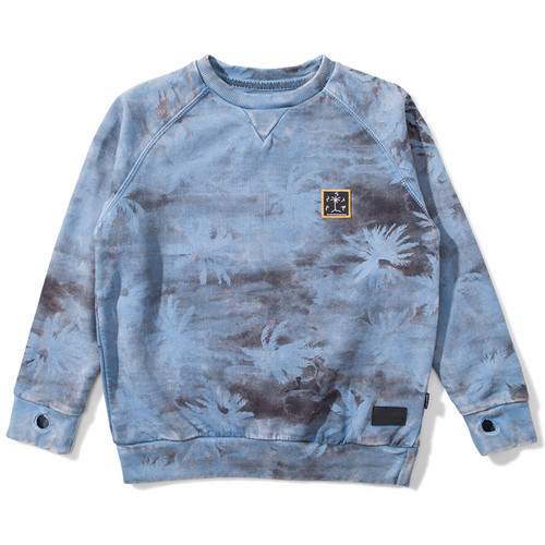 Camo Palm Sweatshirt, Washed Blue