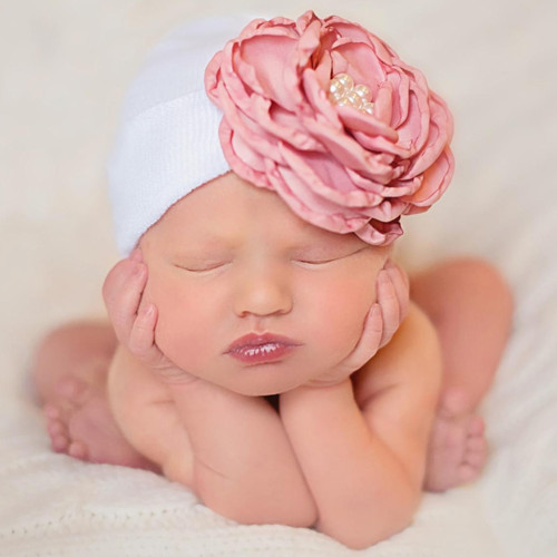 Newborn Bow Hat, Silk Rose with Pearls