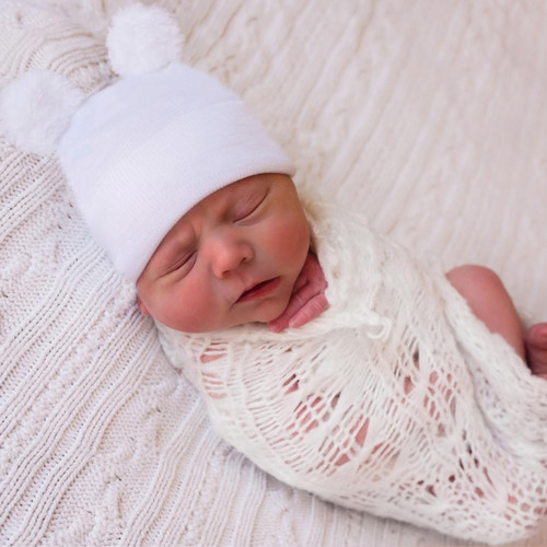 Newborn Hat, White Fuzzy Bear