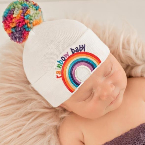 Newborn Hat, Rainbow Baby Pom Hat