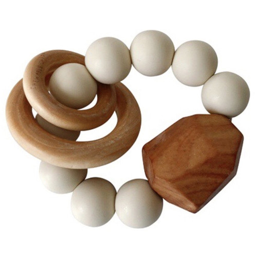Hayes Silicone + Wood Teether, Cream