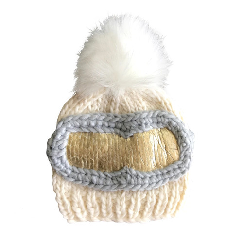 Ski Goggles Hat, Cream