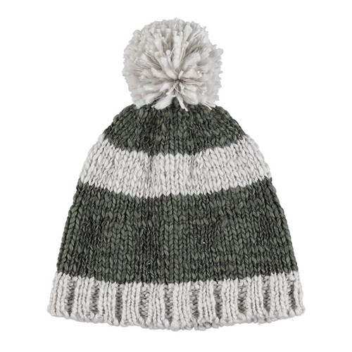 Knitted Hat, Grey and Khaki Stripes