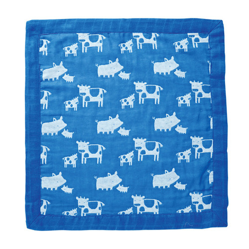 Muslin Blanket, Cows & Pigs Blue