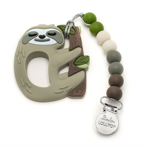 Silicone Teether Metal Clip Set, Sloth