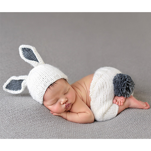 Bunny Newborn Set, White/Grey