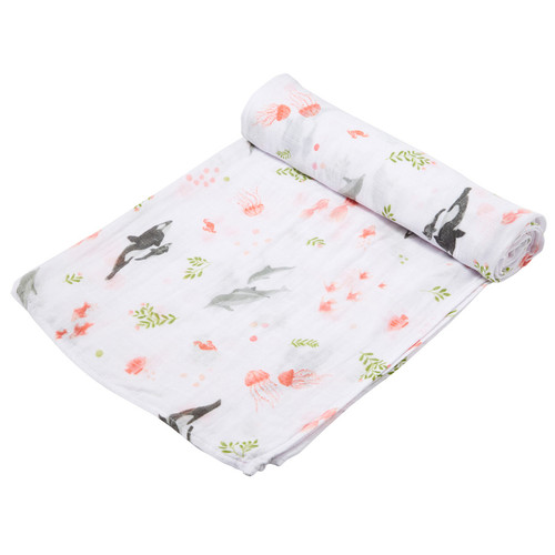 Muslin Swaddle, Dolphins