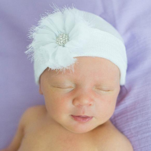 Newborn Hat, White Frayed Flower