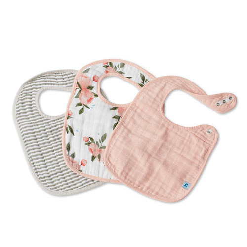Cotton Muslin Bib Set, Peach Rose