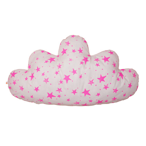 Large Cloud Pillow, Neon Pink Stars/Stripes