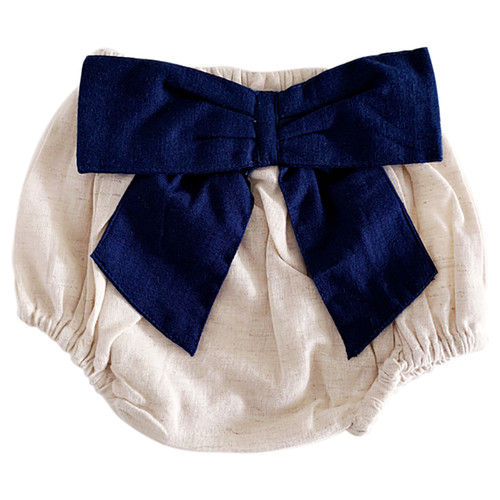 Bow Back Bloomer, Flax/Navy