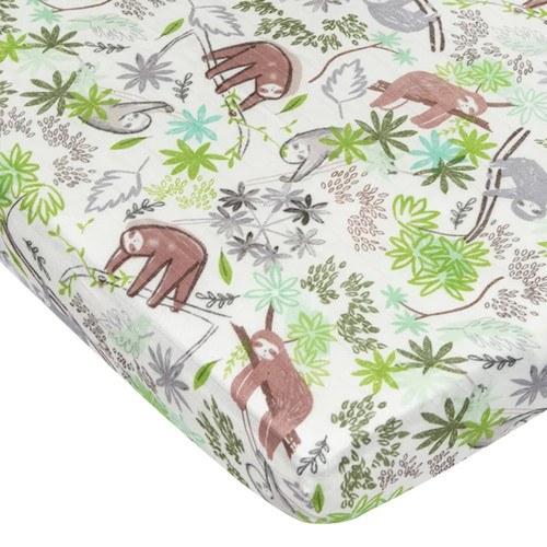 Muslin Crib Sheet, Sloth
