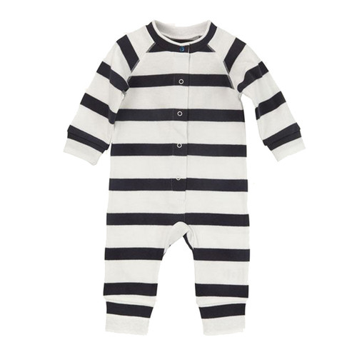 Charcoal and White Bold Stripe Long Sleeve Romper