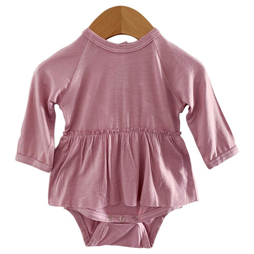 Long Sleeve Skirted Bodysuit, Mauve Lilac