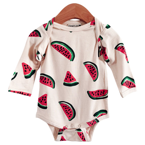 Long Sleeve Bodysuit, Watermelon