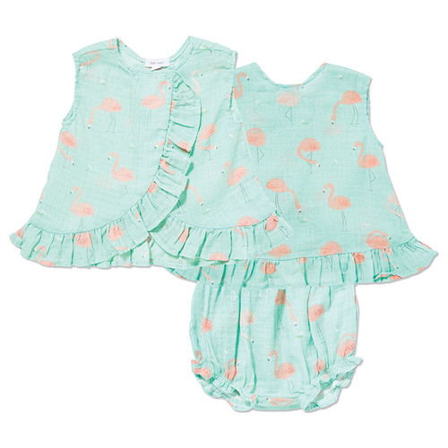 Ruffle Top & Bloomer, Flamingo