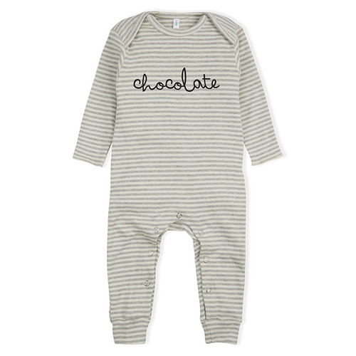 Organic Chocolate Playsuit, Grey Stripes