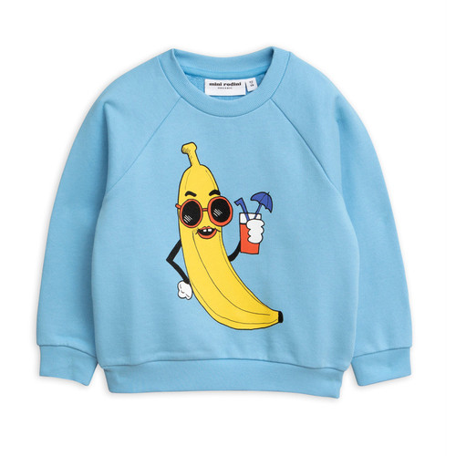 Mini Rodini Banana Sweatshirt, Light Blue