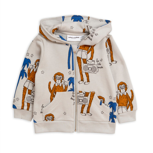 Mini Rodini Cool Monkey Zip Hoodie, Grey