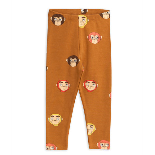 Mini Rodini Monkeys Leggings, Brown